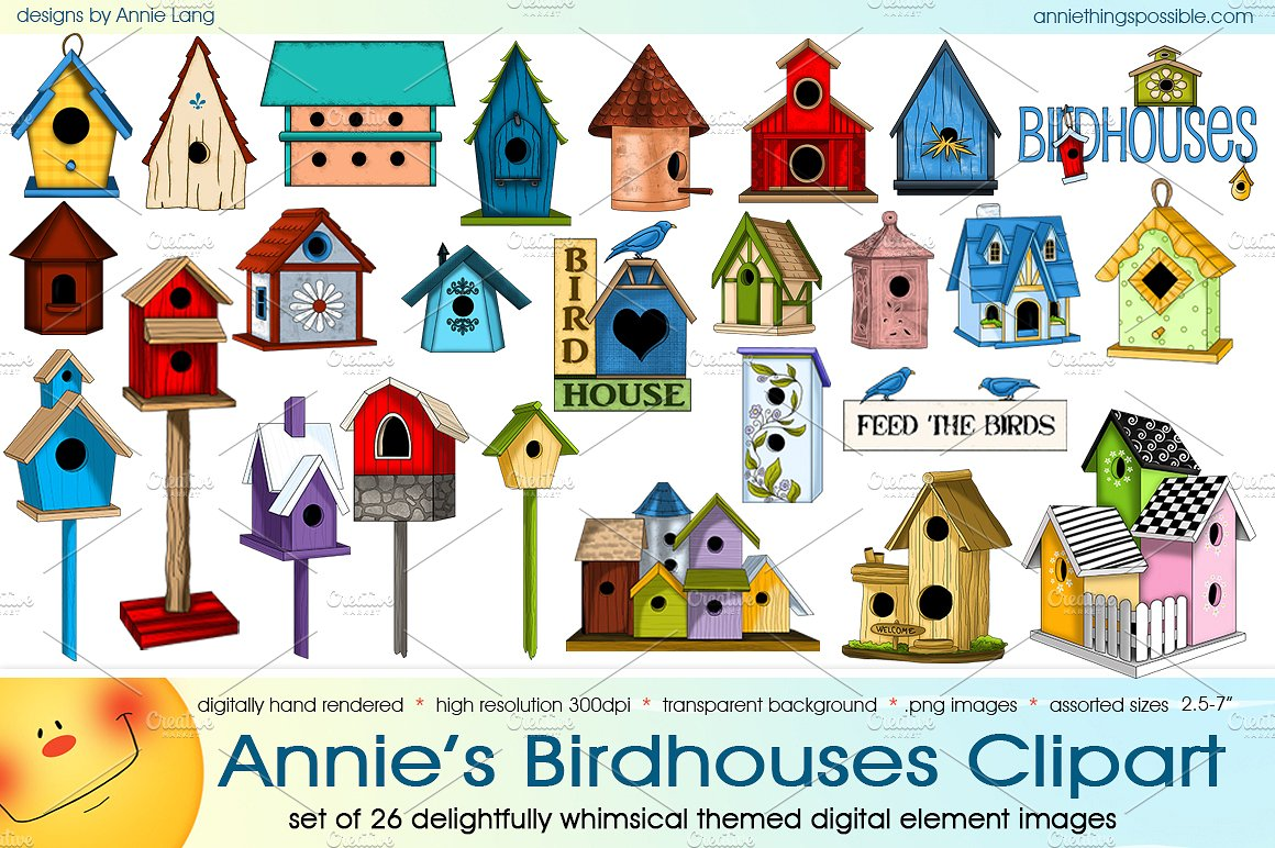 Annie s birdhouses illustrations. Birdhouse clipart butterfly house