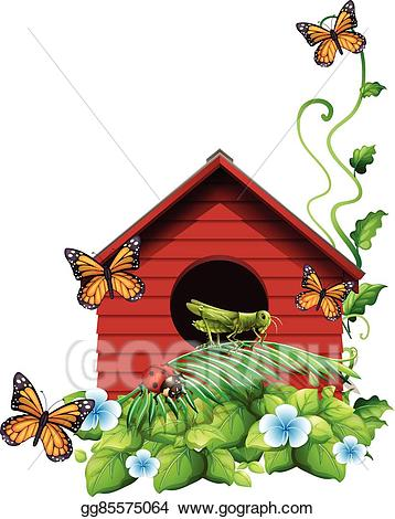 Birdhouse clipart butterfly house. Vector art with flowers