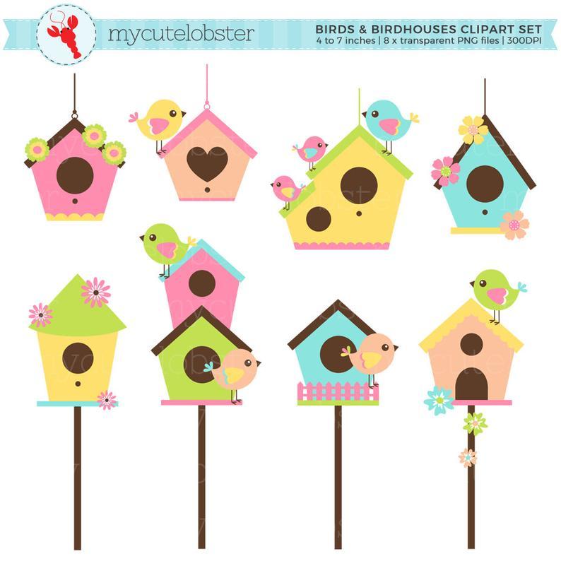 Birds and birdhouses set. Birdhouse clipart cartoon