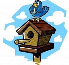 Free with bird on. Birdhouse clipart cartoon