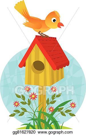 Birdhouse clipart cartoon. Vector illustration and bird
