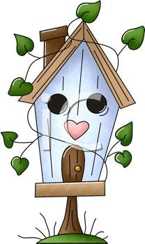 Birdhouse clipart cartoon.  a with flowers