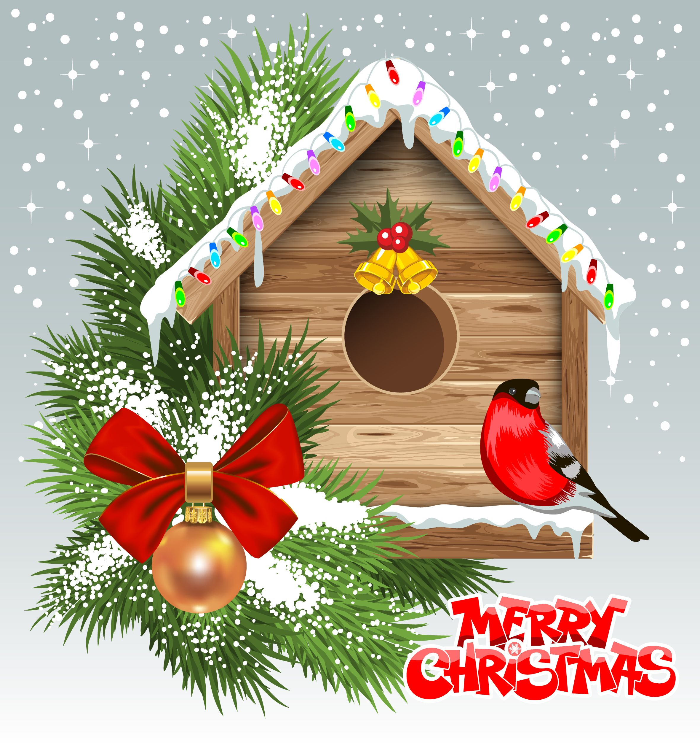 Birdhouse clipart christmas. Merry with decorated vector