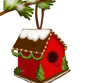 Longleaf pine branch original. Birdhouse clipart christmas