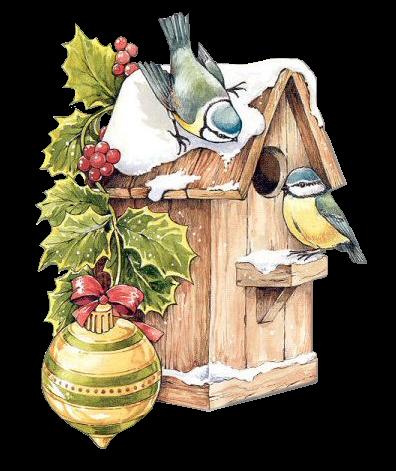 Birds and clip art. Birdhouse clipart christmas