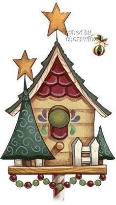 Reyes magos del campo. Birdhouse clipart christmas