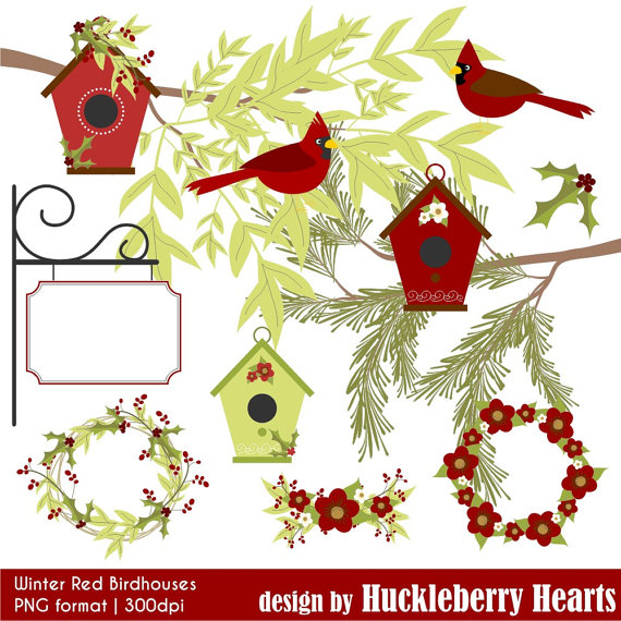 Birdhouse clipart christmas. Winter red cardinal digital