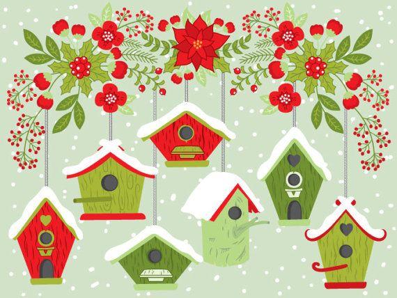 Birdhouse clipart christmas. Bird house digital vector