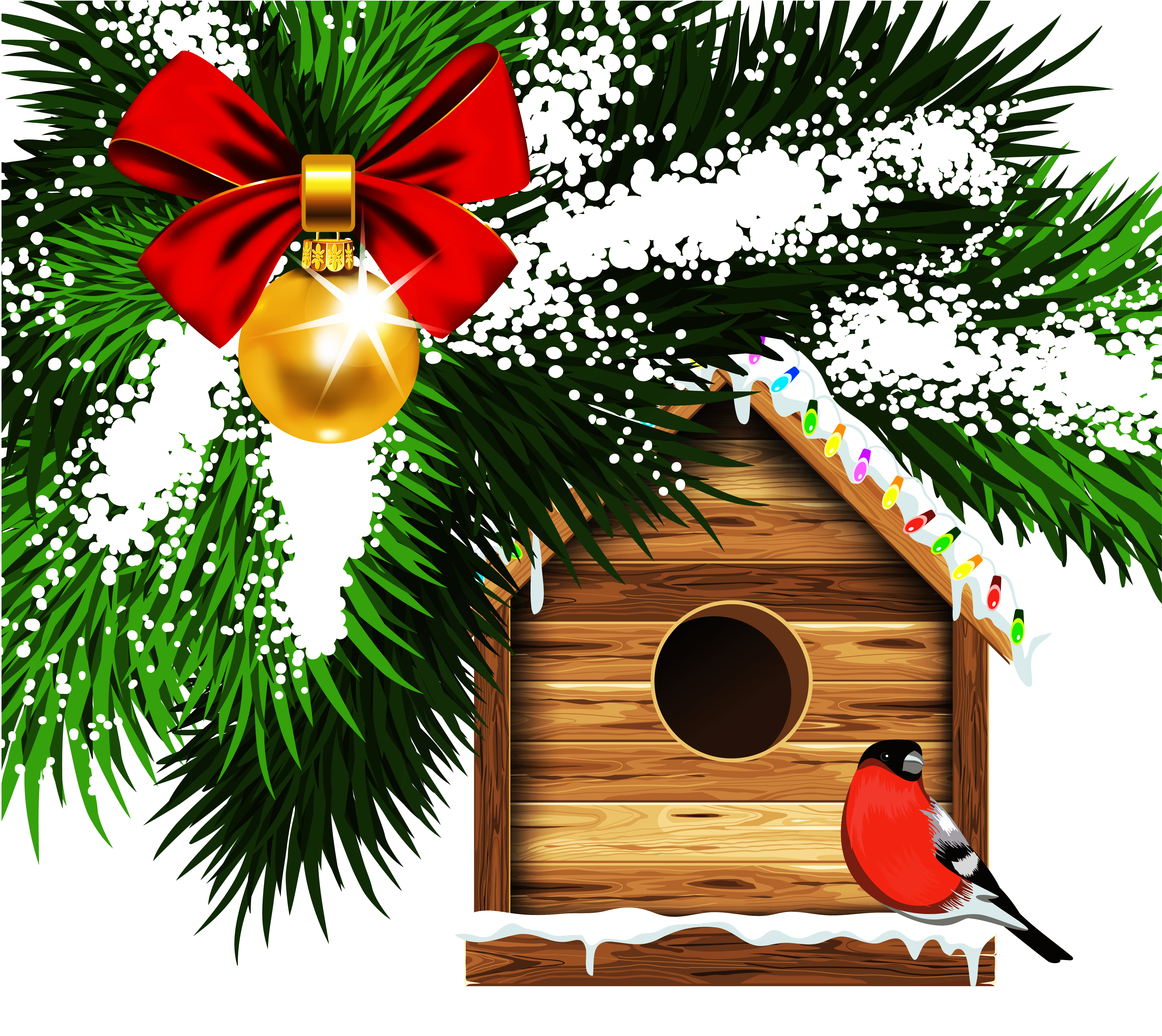 Transparent bird house png. Birdhouse clipart christmas