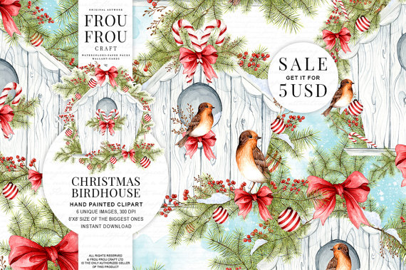 Birdhouse clipart christmas. Winter watercolor bird digital