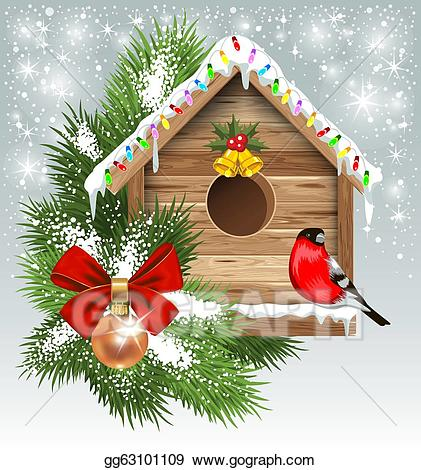 Vector stock greeting card. Birdhouse clipart christmas