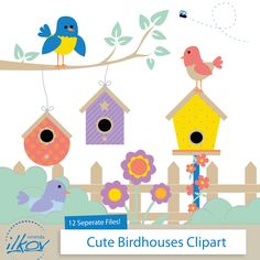 Image result for picture. Birdhouse clipart colorful