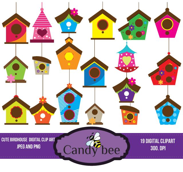 Cute and vectors download. Birdhouse clipart colorful