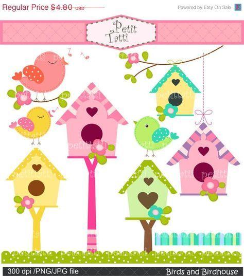 Birds and bird flowers. Birdhouse clipart colorful