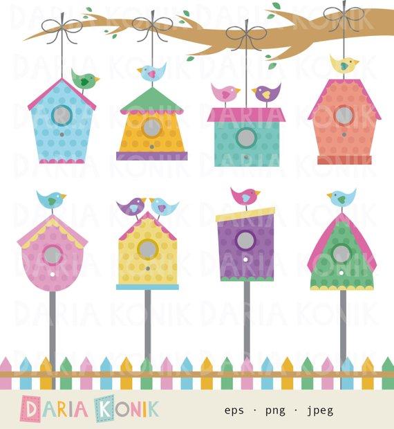 birdhouse clipart colorful