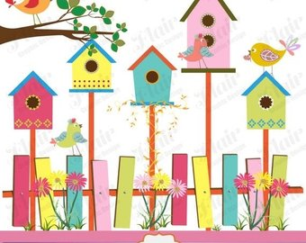 Birdhouse clipart colorful. Spring clip art illustrations