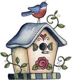 Birdhouse clipart country. Riscos para pintura sketches