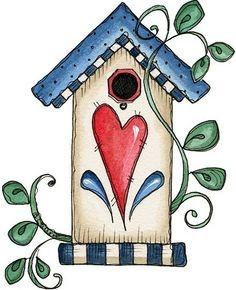 Birdhouse clipart country. Pintura bird houses for