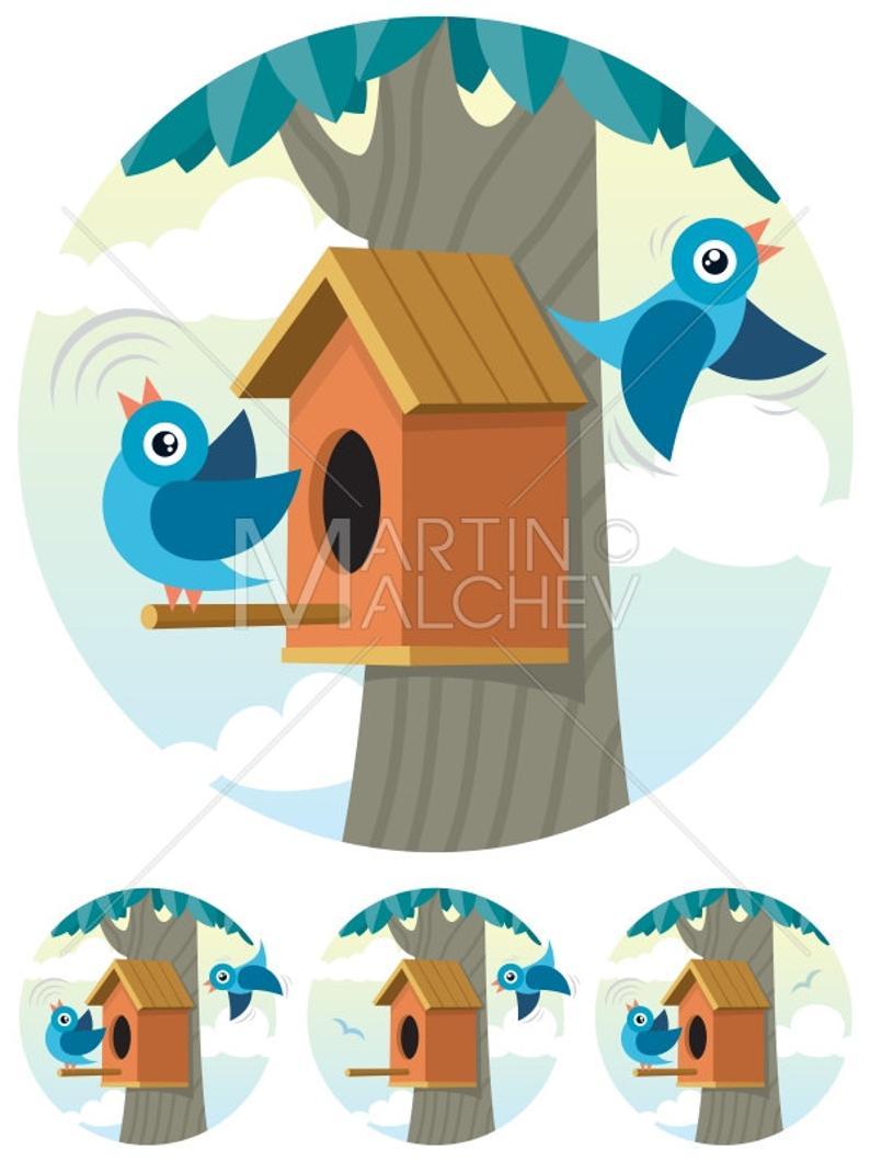 Birdhouse clipart couple bird. Vector cartoon illustration bluebird