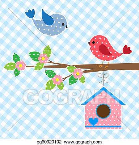 Clip art vector of. Birdhouse clipart couple bird
