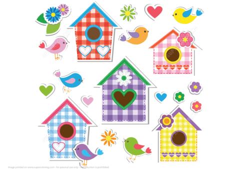 Set of birdhouses birds. Birdhouse clipart craft
