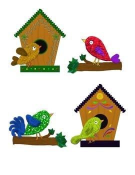 Birdhouse clipart cute. Birds birdhouses trees clips