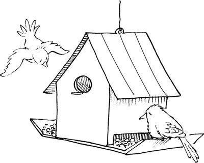 How to make bird. Birdhouse clipart outline