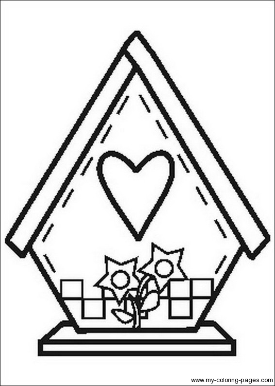 Coloring page of a. Birdhouse clipart outline