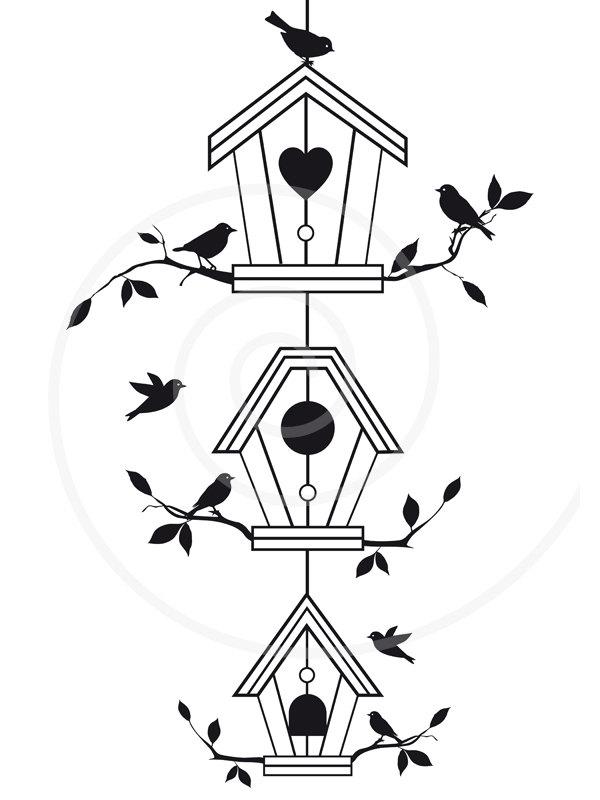 Birdhouse clipart outline. Cute bird houses with