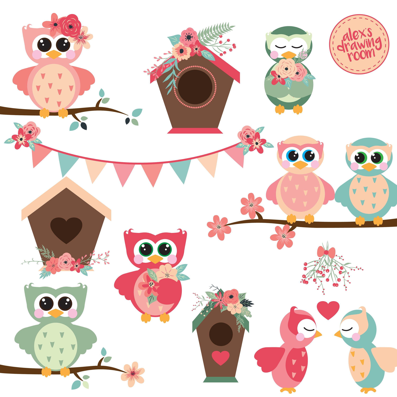 Spring owls floral wedding. Birdhouse clipart owl