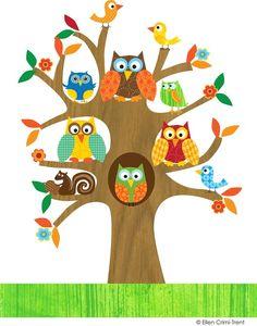 Cartoon colorful owls in. Birdhouse clipart owl