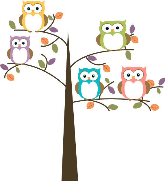 Owl cartoon owls in. Memories clipart colorful tree