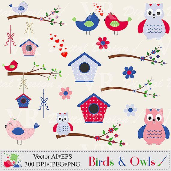 Birds and owls clip. Birdhouse clipart owl