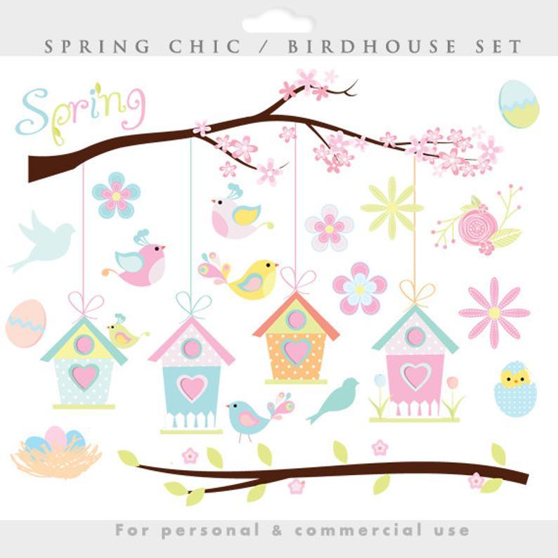 Birdhouse clipart pastel. Spring bird clip art
