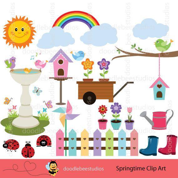 Spring time clip art. Birdhouse clipart pastel