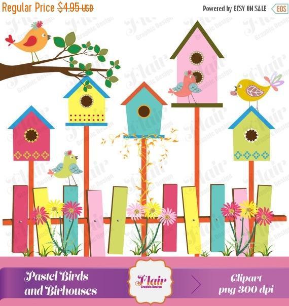 off colored birds. Birdhouse clipart pastel