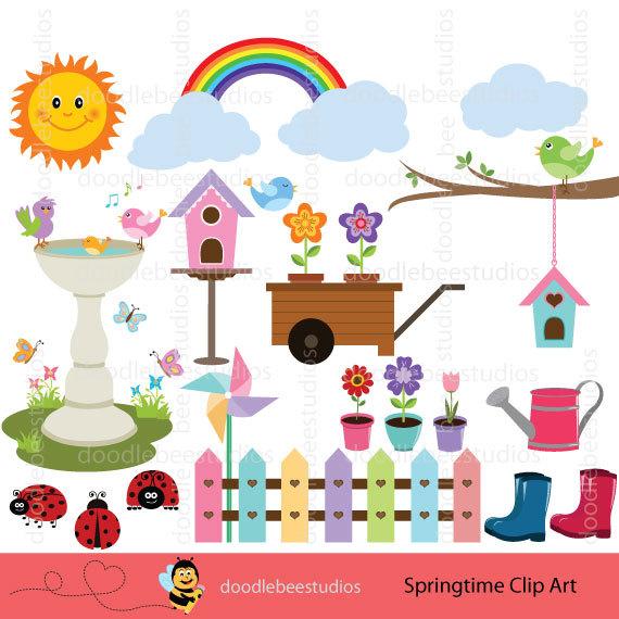 Birdhouse clipart pastel. Spring time clip art