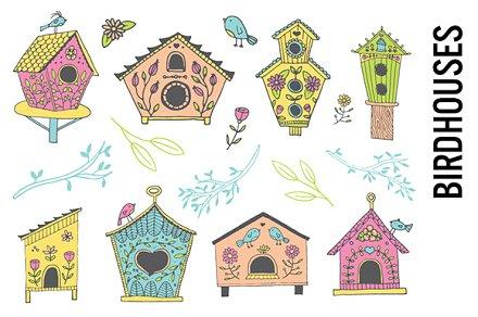 Birdhouse clipart pastel. Doodle illustrations creative market