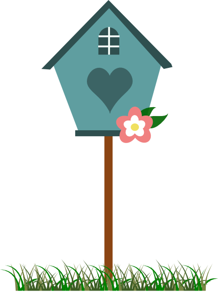 Birdhouse clipart pigeon house. Free bird and flower