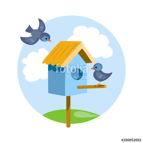 With birds icon stock. Birdhouse clipart pigeon house