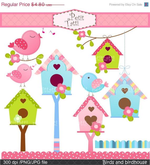 On sale birds flowers. Birdhouse clipart pink