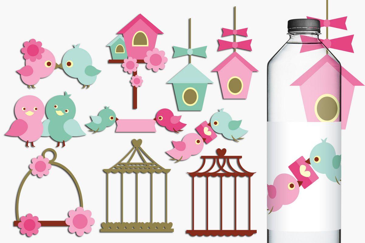 Birdhouse clipart pink. Love birds birdcage clip