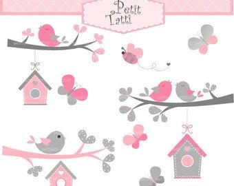 Birdhouse clipart pink. Etsy on sale birds