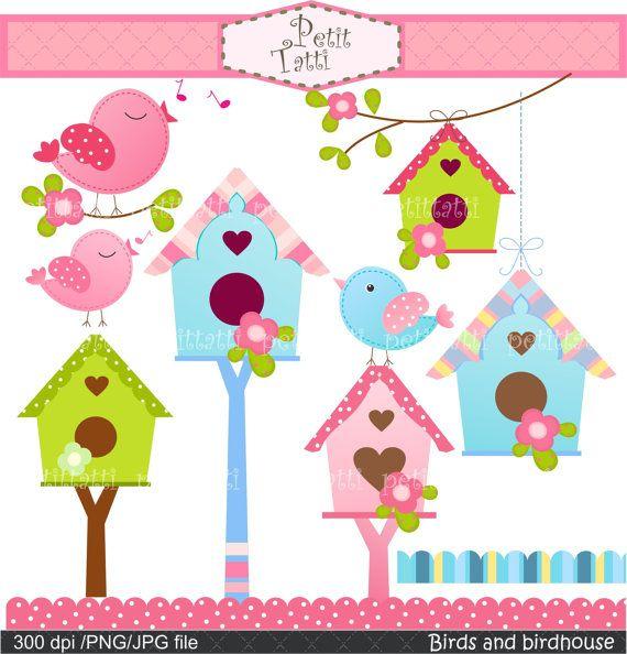 birdhouse clipart pink bird