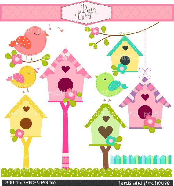 Birdhouse clipart pink. Birds and bird flowers