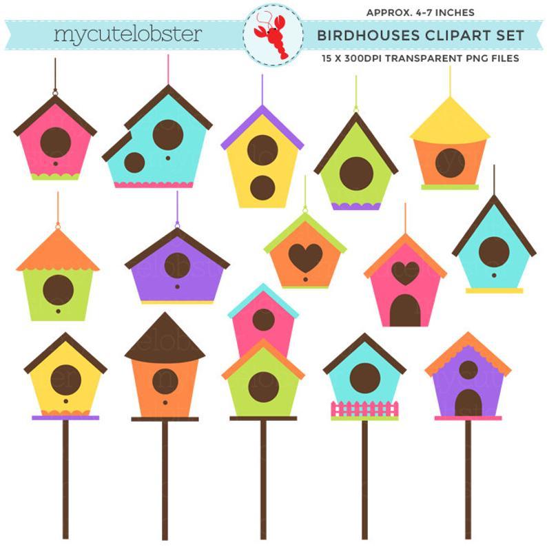 Birdhouses set clip art. Birdhouse clipart plain