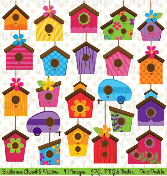 Birdhouse clipart plain. Cute and vectors creative