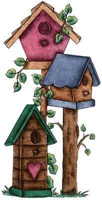 best casas images. Birdhouse clipart primitive