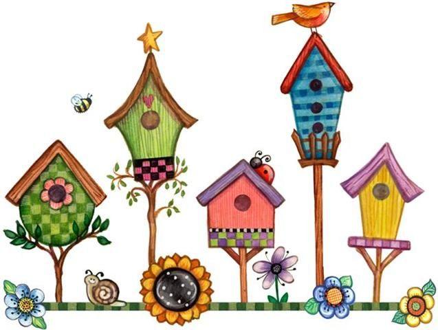 Birdhouse clipart primitive. Regaderas y objetos de