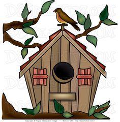 Clip art cute whimsical. Birdhouse clipart primitive